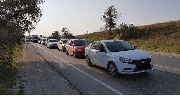 Пробка на керченской трассе. 23 августа 2018