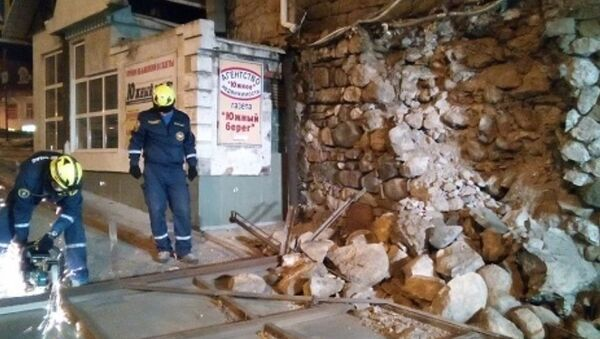 Обрушение подпорной стены в Алуште