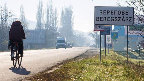 Надписи на украинском и венгерском языках на указателе в городе Берегово в Закарпатской области Украины. Архивное фото