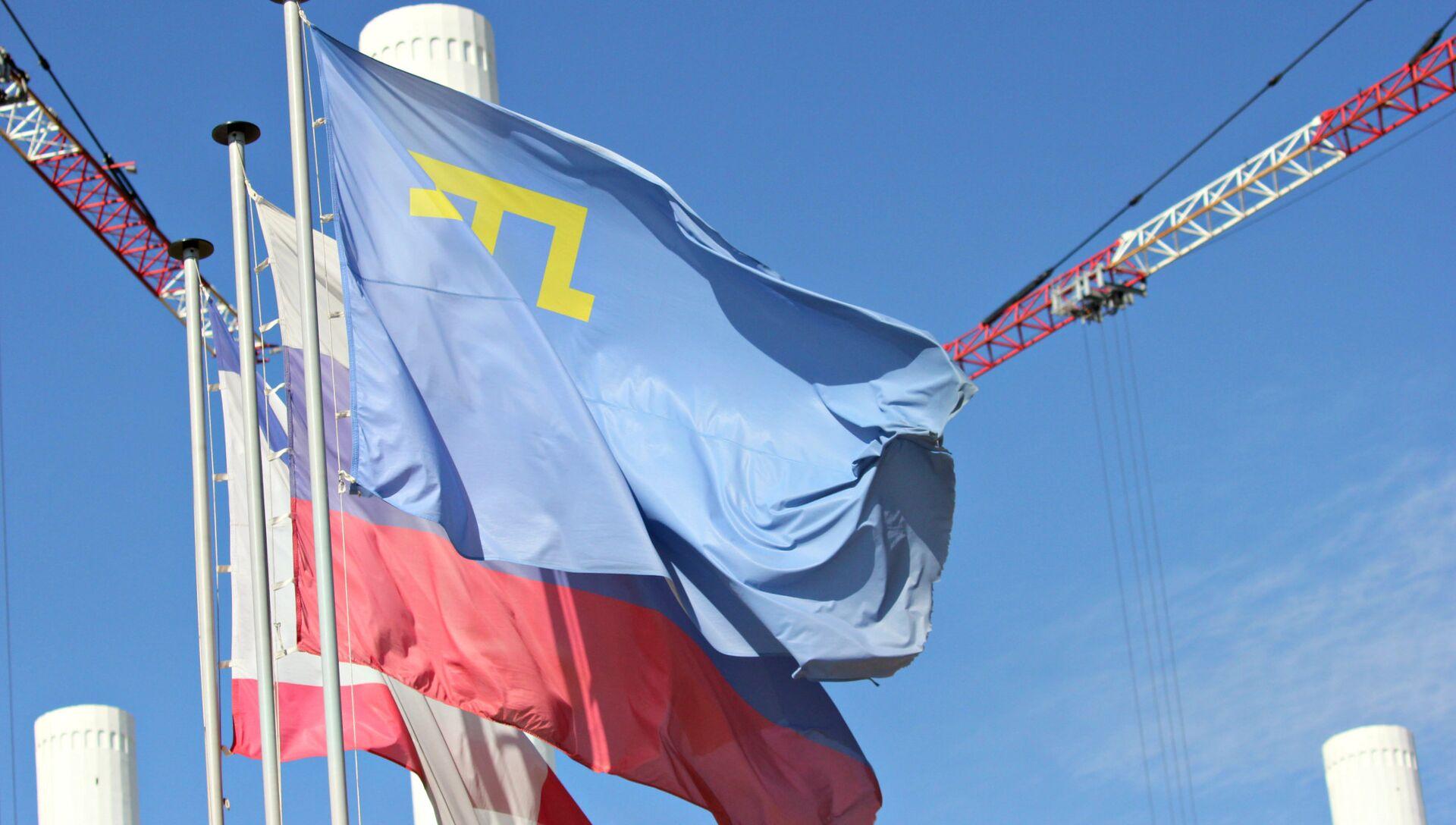 Флаги России, Крыма и национальный флаг крымских татар - РИА Новости, 1920, 14.10.2020