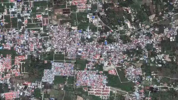 Видео разрушения в результате землетрясения двух районов города Палу в Индонезии.