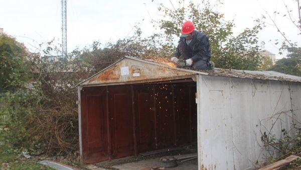 Демонтаж незаконных гаражей в Севастополе