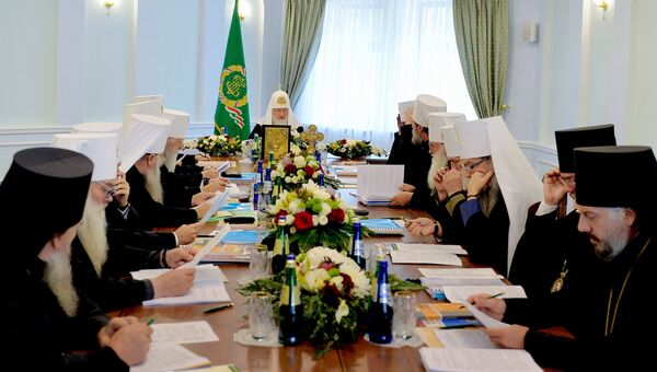 Патриарх Московский и всея Руси Кирилл проводит выездное заседание Священного синода Русской православной церкви в Минске. 15 октября 2018