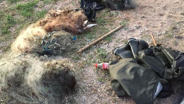 Сети, изъятые у браконьеров крымскими пограничниками