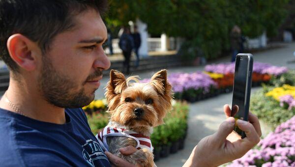 Посетитель в Никитском ботаническом саду на 65-й выставке хризантем