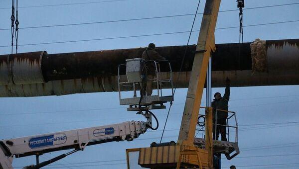 Работы по восстановлению участка теплотрассы Камыш-Бурунской ТЭЦ в Керчи