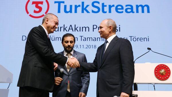 Президент России Владимир Путин и президент Турции Реджеп Тайип Эрдоган принимают участие в церемонии завершения строительства морского участка газопровода Турецкий поток. 19 ноября 2018