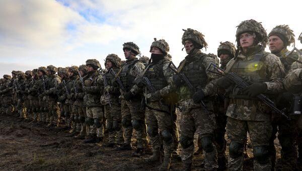 Президент Украины П. Порошенко посетил тактические учения десантно-штурмовых войск в Житомирской области