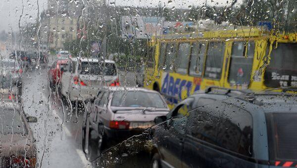Сильный дождь и пробки