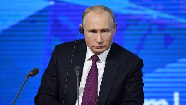 Президент РФ Владимир Путин на четырнадцатой большой ежегодной пресс-конференции в Центре международной торговли на Красной Пресне. 20 декабря 2018