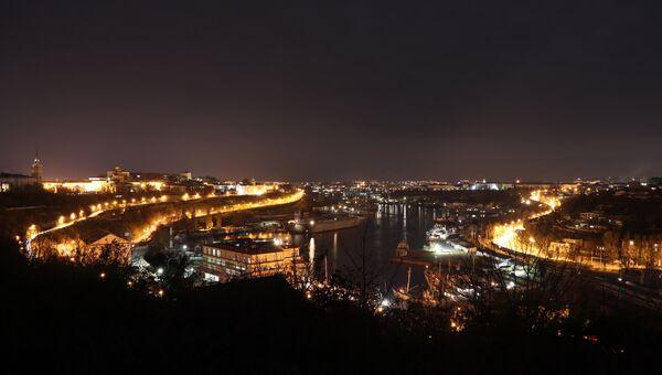 Вид на ночной Севастополь