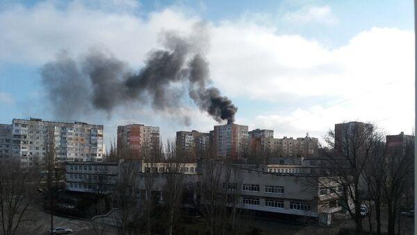 Взрыв газовых баллонов и пожар на крыше девятиэтажного дома в Щелкино