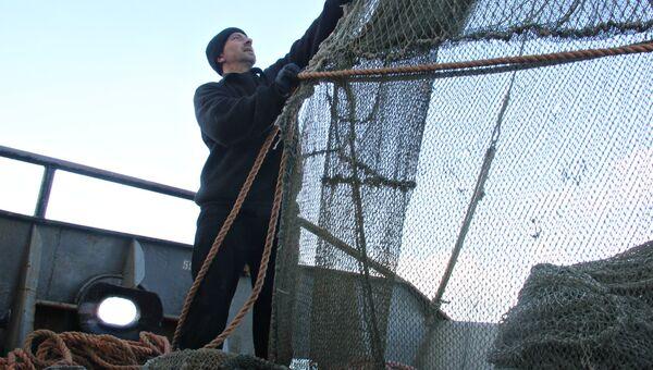 Рыбная ловля с сейнера в Азовском море