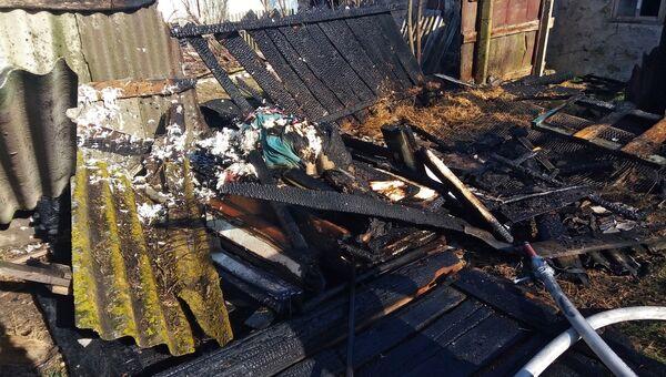 Пожар в хозяйственной постройке в Черноморском районе Крыма