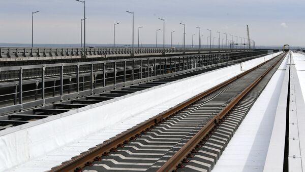 Строительство железнодорожной части Крымского моста