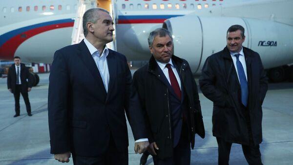 Делегация Госдумы во главе с Вячеславом Володиным прибыла в Крым