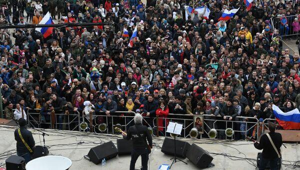 Празднование пятой годовщины Крымской весны на горе Гасфорта в Севастополе. 16 марта 2019