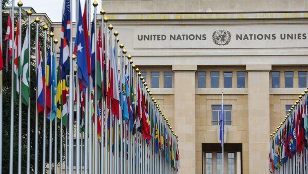 ллея флагов возле здания Организации Объединённых Наций (ООН) в Женеве