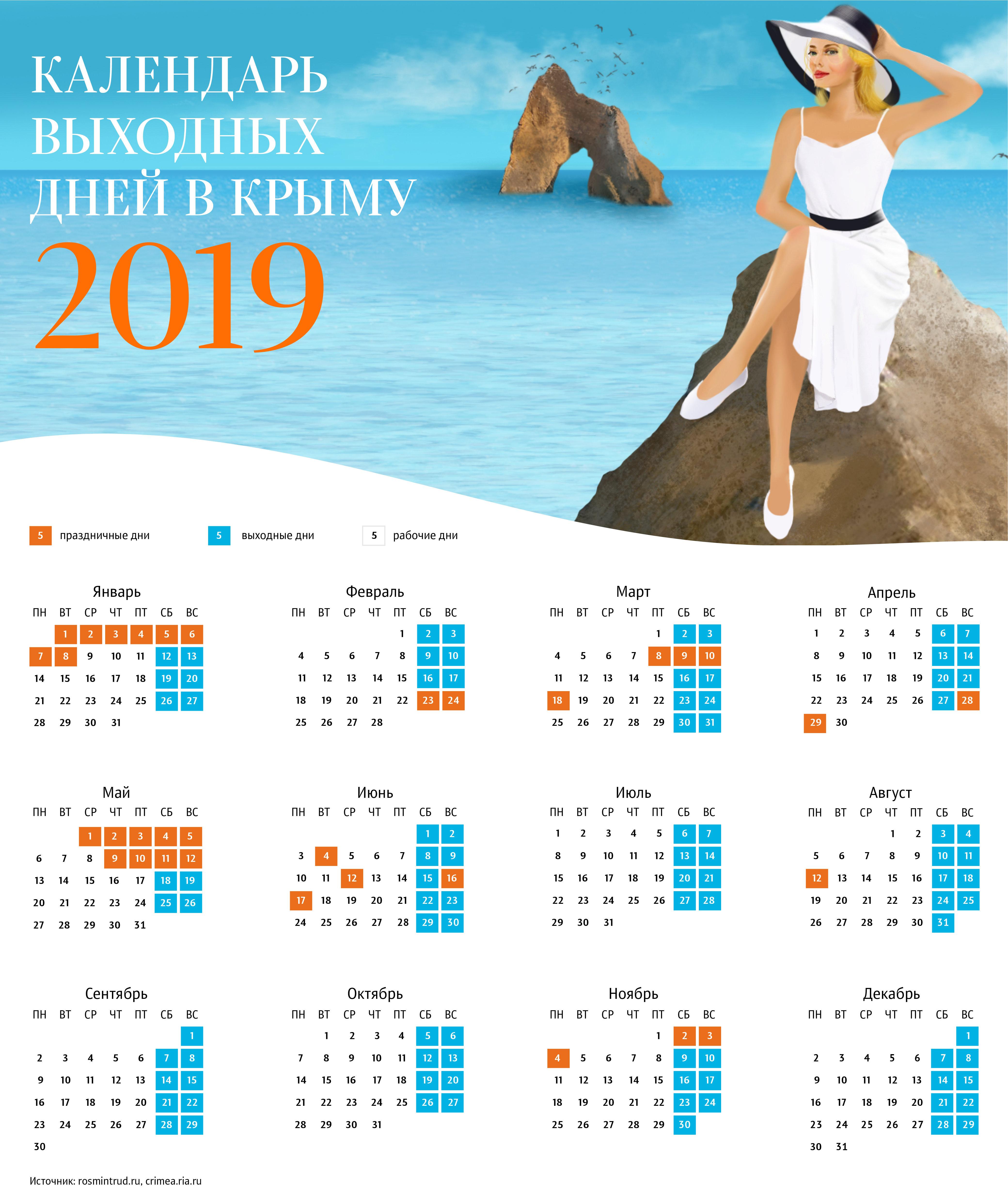 Календарь выходных дней в Крыму в 2019 году