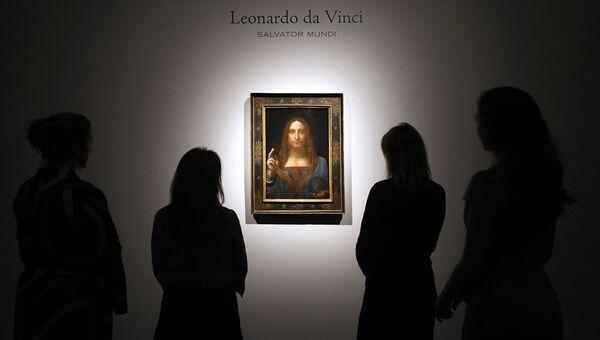 Картина Леонардо да Винчи Спаситель мира на аукционе Christie's в Лондоне. 24 октября 2017