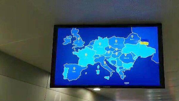 Трансляция видео с картой Украины без Крыма в аэропорту Борисполь в Киеве