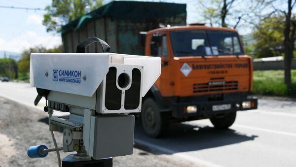 Работа мобильного комплекса фиксации нарушений ПДД в Крыму