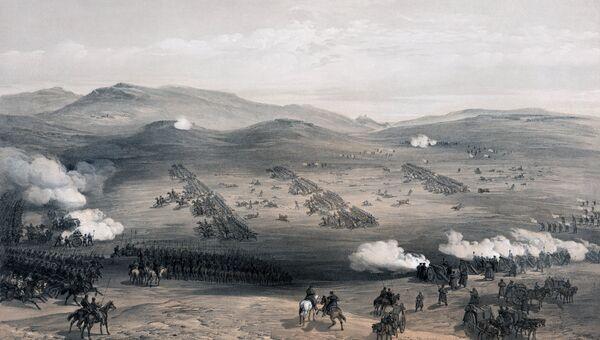 Балаклавское сражение 13 (25) октября 1854 года. Литография Английская атака легкое кавалерийской бригады. У. Симпсон. Лондон, 1855 г
