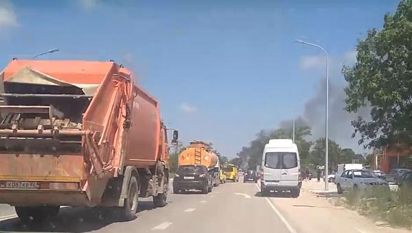 На трассе Симферополь-Феодосия загорелась машина
