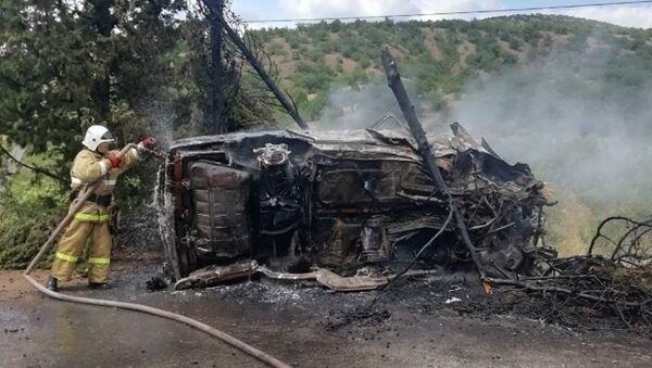 Автопожар на трассе Алушта-Судак-Феодосия