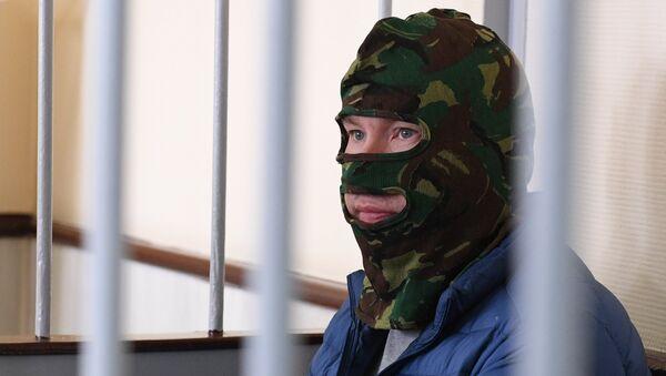 Задержанный Федеральной службой безопасности (ФСБ) России в рамках возбужденного уголовного дела подозреваемый в государственной измене россиянин Александр Воробьев в Лефортовском суде Москвы.