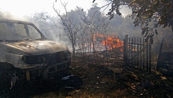Последствия пожара в пгт Приморский в Феодосии