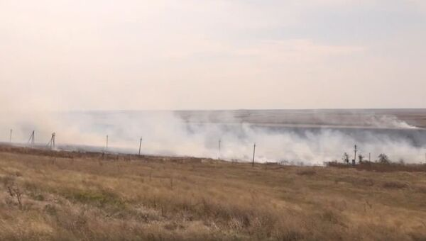 Ликвидация пожара на поле в Ленинском районе