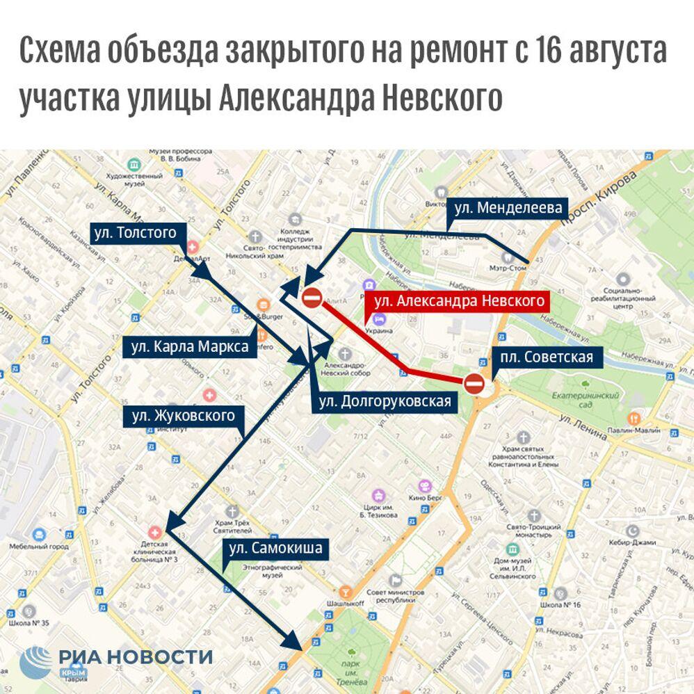 Схема объезда закрытого на ремонт участка