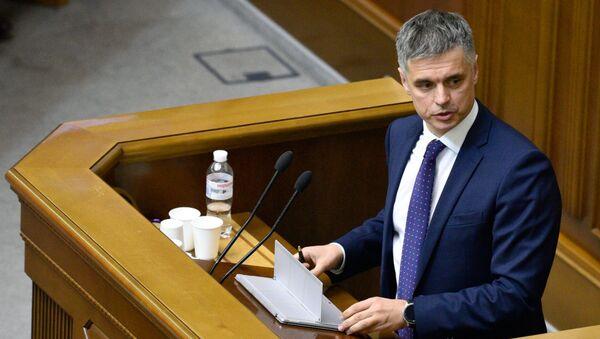 Министр иностранных дел Украины Вадим Пристайко выступает на первом заседании девятого созыва Верховной рады Украины в Киеве.