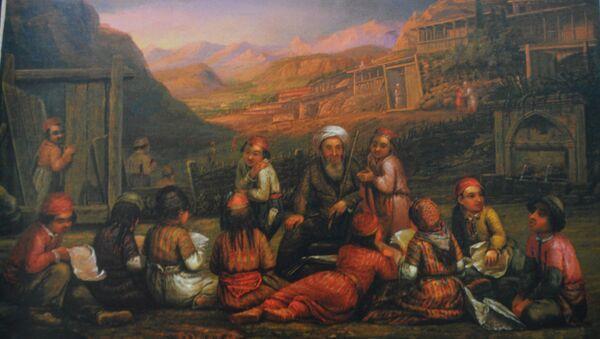 Татарская школа. Рисунок художника и этнографа Вильгельма Кизиветтера, который жил в Крыму в 1845-1847 гг.