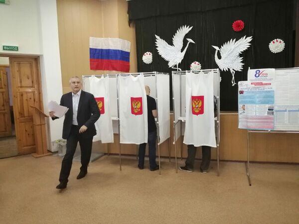 Сергей Аксенов на выборах-2019 в Симферополе