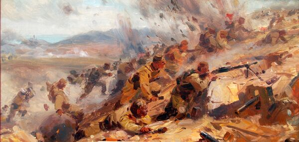 (на фотографии картина, которая легла в основу диорамы) Героями полотна диорамы стали участники штурма Сапун-горы. Я увидел себя и своих товарищей такими, какими мы были в то трудное, но славное время, - сказал позировавший художникам воин Поликахин.