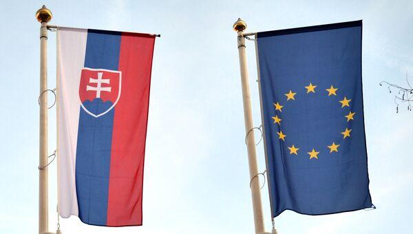 Флаги Словакии и ЕС
