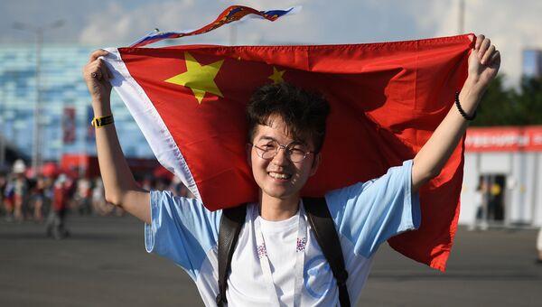 Китайский болельщик на чемпионате мира по футболу в России