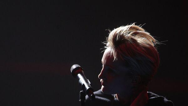Представитель Франции на музыкальном конкурсе Евровидение-2009 Патрисия Каас во время репетиции в СК Олимпийский