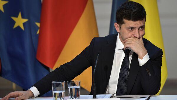 9 декабря 2019. Президент Украины Владимир Зеленский на пресс-конференции по итогам встречи в Нормандском формате в Елисейском дворце.