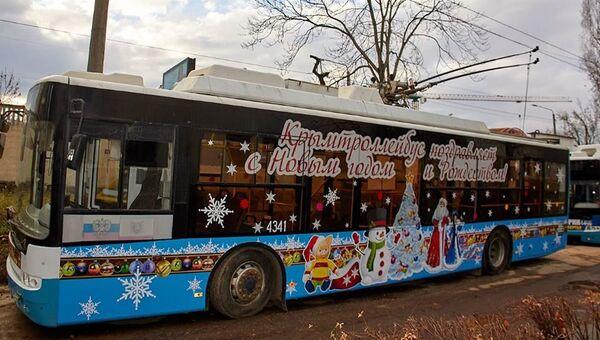 Новогодний троллейбус в Крыму
