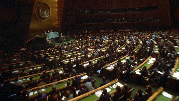 Зал заседаний. Сессия Генеральной Ассамблеи ООН.