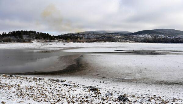 Симферопольское водохранилище в январе 2020 года