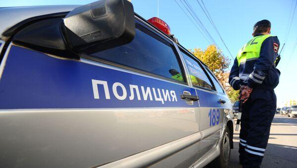 Инспектор Специального батальона ГИБДД на маршруте патрулирования