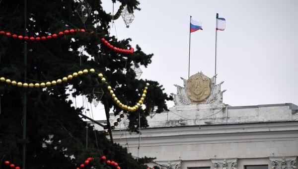 Демонтаж новогодней Ёлки в городе Симферополь