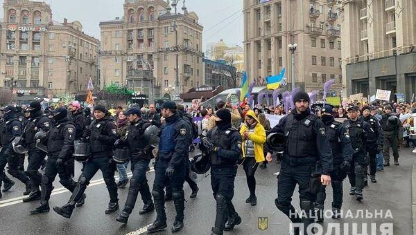 Марши против абортов и против женского насилия в Киеве