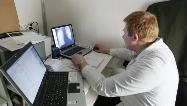 Флюорографическое обследование в подвижном рентгенкабинете на базе автомобиля Камаз 7-ой Центральной поликлиники РВСН в Москве