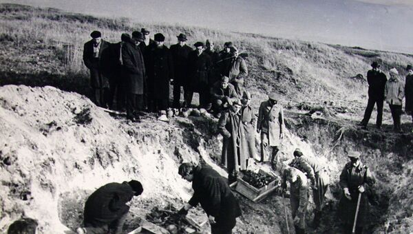 Раскопки на территории концлагеря бывшего совхоза Красный