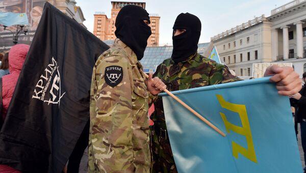 Участники акции меджлиса* в Киеве. Архивное фото